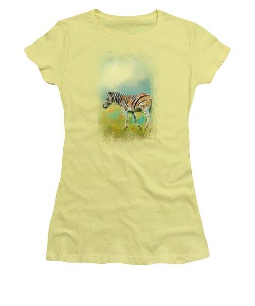 Summer Zebra 2 Women's T-Shirt (Junior Cut) by Jai Johnson