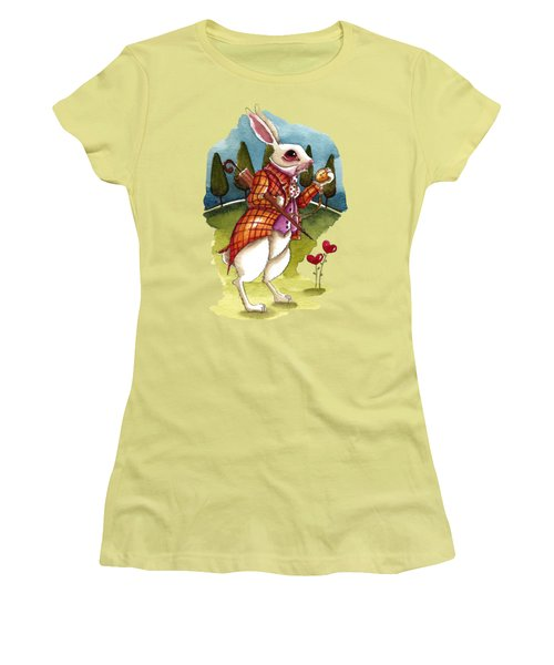 The White Rabbit Is Late Women's T-Shirt (Junior Cut) by Lucia Stewart