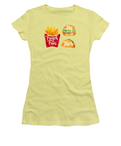 Vintage French Fries Women's T-Shirt (Junior Cut) by Aloke Design