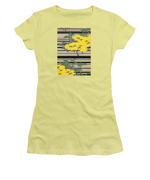 Vintage Japanese Illustration Of An Abstract Forest Landscape With Flying Cranes Women's T-Shirt (Junior Cut) by Japanese School