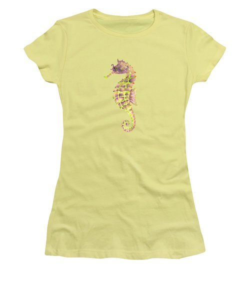 Violet Green Seahorse Women's T-Shirt (Junior Cut) by Amy Kirkpatrick