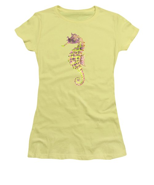 Violet Green Seahorse - Square Women's T-Shirt (Junior Cut) by Amy Kirkpatrick