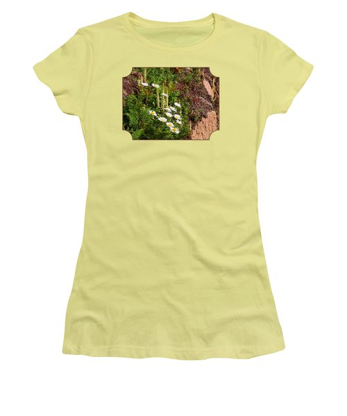 Wild Daisies In The Rocks Women's T-Shirt (Junior Cut) by Gill Billington