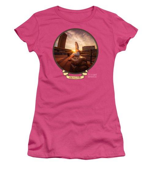 Shark Girl Dawn - Horizontal Women's T-Shirt (Junior Cut) by Chris Bordeleau