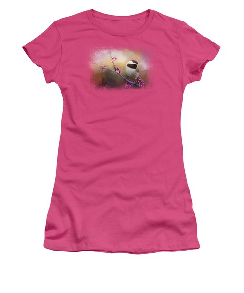 Chickadee And Pink Blooms Women's T-Shirt (Junior Cut) by Jai Johnson