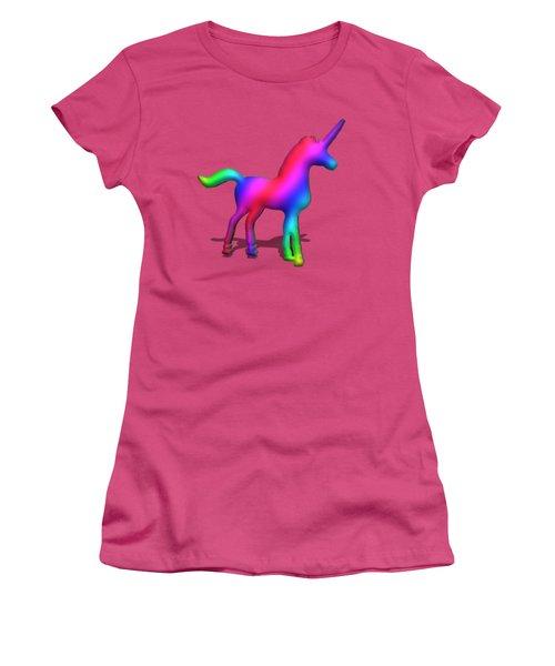 Colourful Unicorn In 3d Women's T-Shirt (Junior Cut) by Ilan Rosen
