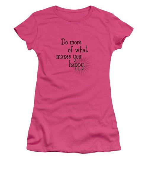 Text Art Happy Women's T-Shirt (Junior Cut) by Melanie Viola