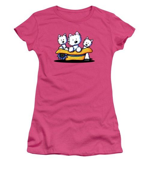 Westie Hat Trio Women's T-Shirt (Junior Cut) by Kim Niles
