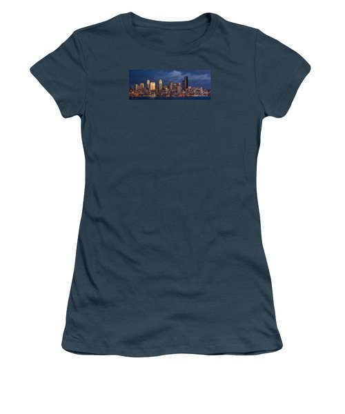 Seattle Skyline Sunset Detail Women's T-Shirt (Junior Cut) by Mike Reid