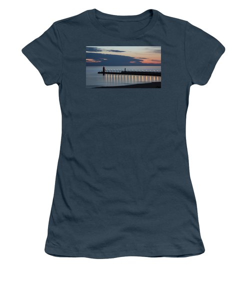 South Haven Michigan Lighthouse Women's T-Shirt (Junior Cut) by Adam Romanowicz