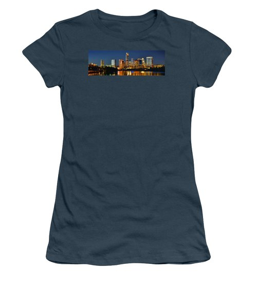 Austin Skyline At Night Color Panorama Texas Women's T-Shirt (Junior Cut) by Jon Holiday