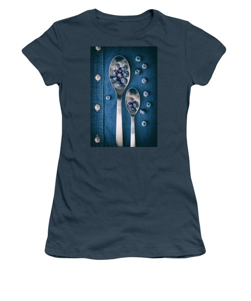 Blueberries On Denim I Women's T-Shirt (Junior Cut) by Tom Mc Nemar