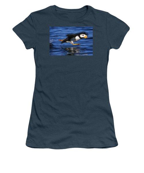 Horned Puffin  Fratercula Corniculata Women's T-Shirt (Junior Cut) by Marion Owen