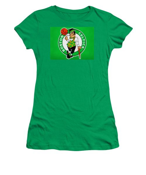 Boston Celtics Canvas Women's T-Shirt (Junior Cut) by Dan Sproul