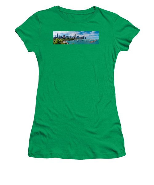 Chicago Skyline Daytime Panoramic Women's T-Shirt (Junior Cut) by Adam Romanowicz