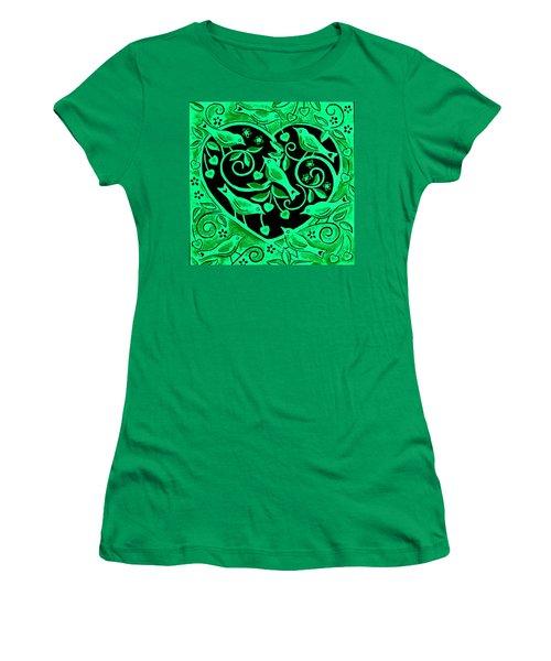 Love Birds, 2012 Woodcut Women's T-Shirt (Junior Cut) by Nat Morley