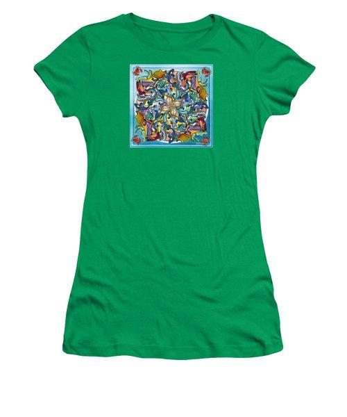 Mandala Fish Pool Women's T-Shirt (Junior Cut) by Bedros Awak