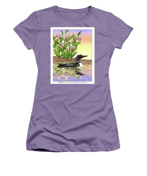 Minnesota State Bird Loon And Flower Ladyslipper Women's T-Shirt (Junior Cut) by Crista Forest