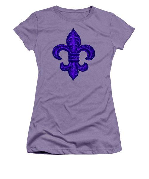 Purple French Fleur De Lys, Floral Swirls Women's T-Shirt (Junior Cut) by Tina Lavoie