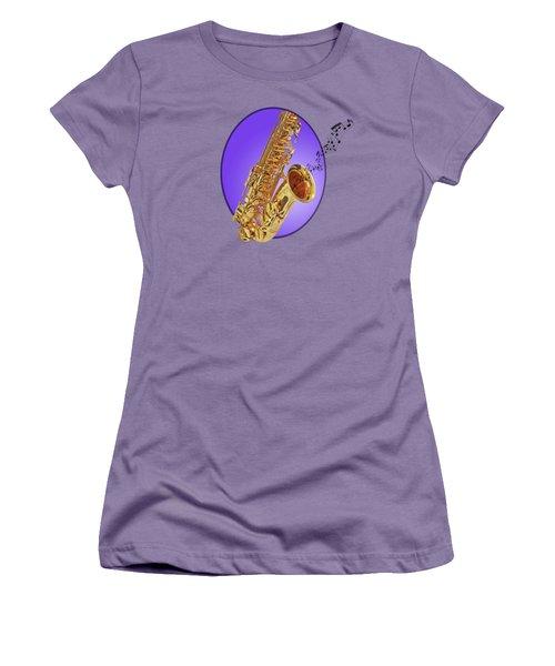 Sounds Of The Sax In Purple Women's T-Shirt (Junior Cut) by Gill Billington
