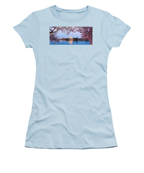 Cherry Blossom Tree With A Memorial Women's T-Shirt (Junior Cut) by Panoramic Images