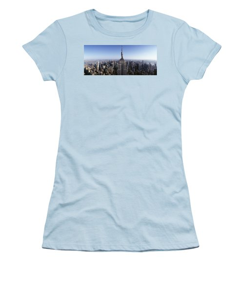 Aerial View Of A Cityscape, Empire Women's T-Shirt (Junior Cut) by Panoramic Images