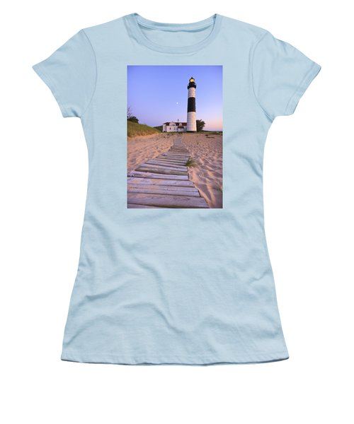 Big Sable Point Lighthouse Women's T-Shirt (Junior Cut) by Adam Romanowicz