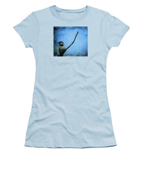 Sparrow On Blue Women's T-Shirt (Junior Cut) by Dan Sproul