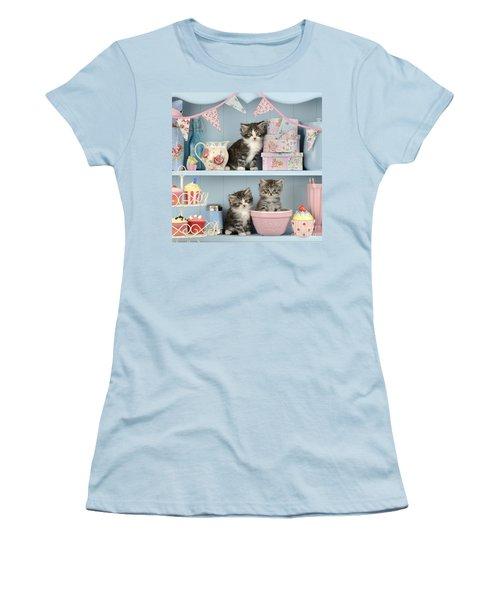 Baking Shelf Kittens Women's T-Shirt (Junior Cut) by Greg Cuddiford