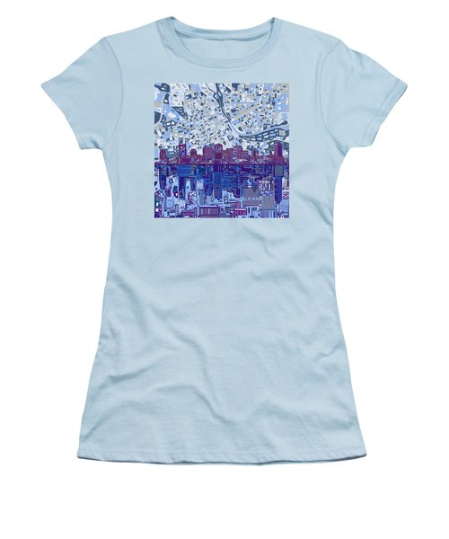 Nashville Skyline Abstract 8 Women's T-Shirt (Junior Cut) by Bekim Art