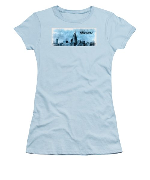 Nashville Tennessee In Blue Women's T-Shirt (Junior Cut) by Dan Sproul