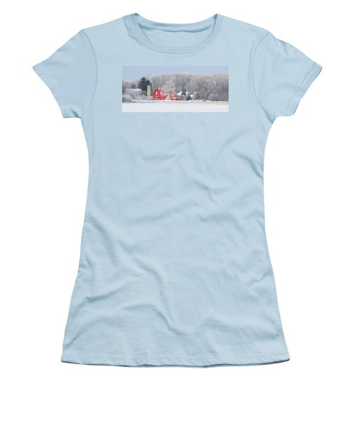 Red Barn Frosty Morning Panorama1 Women's T-Shirt (Junior Cut) by Jack Schultz