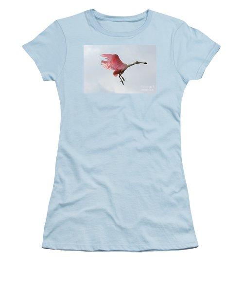 Roseate Spoonbill In Flight Women's T-Shirt (Junior Cut) by Carol Groenen