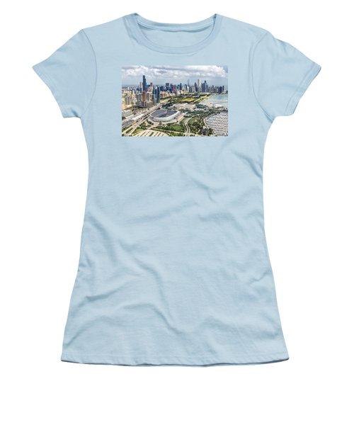 Soldier Field And Chicago Skyline Women's T-Shirt (Junior Cut) by Adam Romanowicz