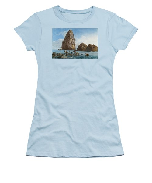 View Of The Rocks On The Third Island Of Cyclops Women's T-Shirt (Junior Cut) by Jean-Pierre-Louis-Laurent Houel