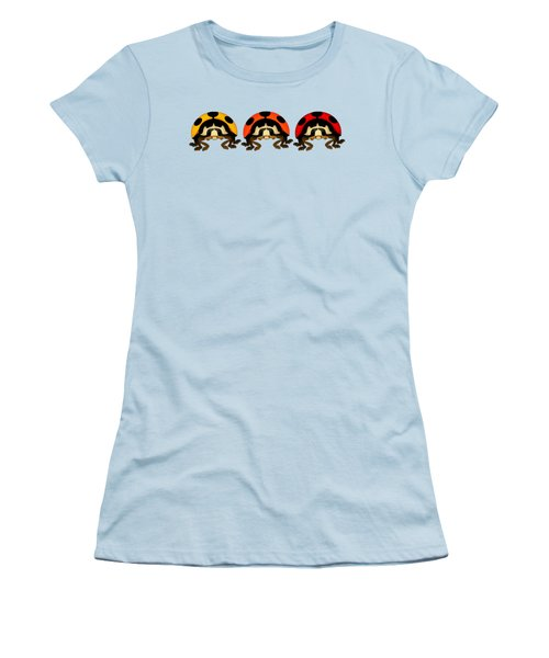 3 Bugs In A Row Women's T-Shirt (Junior Cut) by Sarah Greenwell