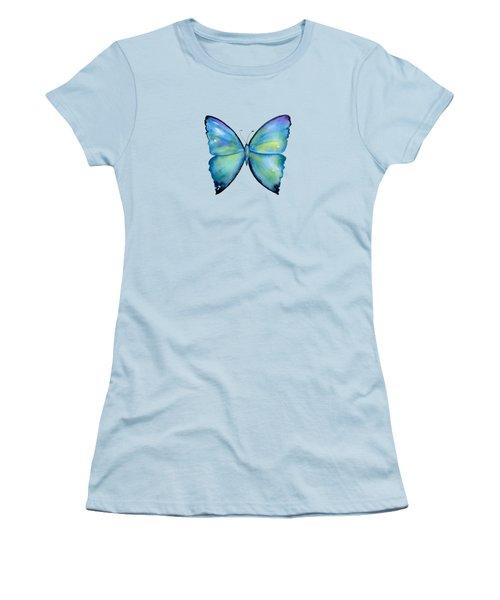 2 Morpho Aega Butterfly Women's T-Shirt (Junior Cut) by Amy Kirkpatrick