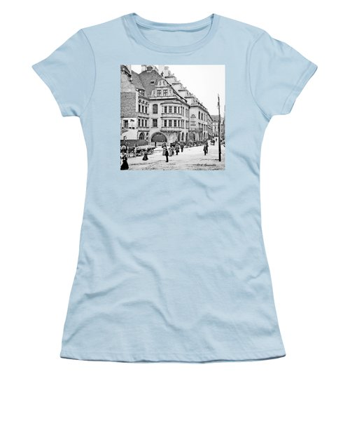Women's T-Shirt (Junior Cut) featuring the photograph Munich Germany Street Scene 1903 Vintage Photograph by A Gurmankin