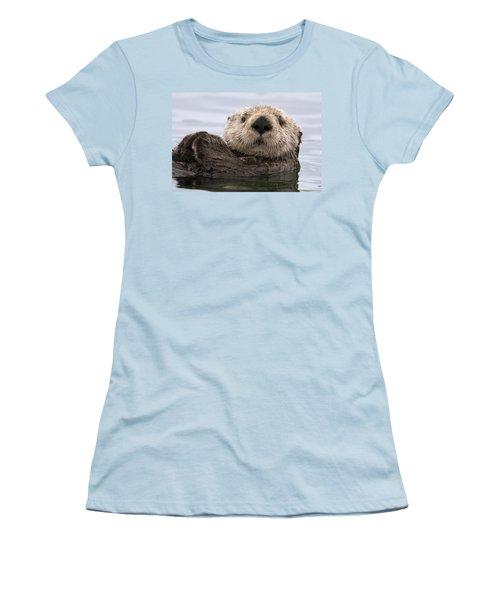 Sea Otter Elkhorn Slough Monterey Bay Women's T-Shirt (Junior Cut) by Sebastian Kennerknecht