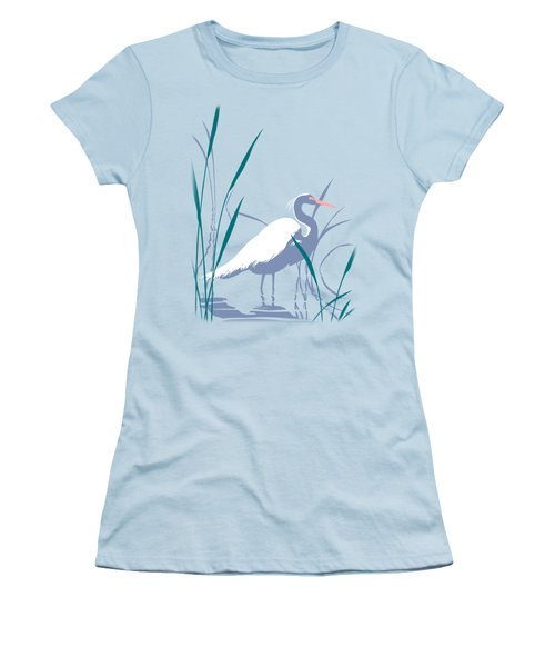 abstract Egret graphic pop art nouveau 1980s stylized retro tropical florida bird print blue gray  Women's T-Shirt (Junior Cut) by Walt Curlee