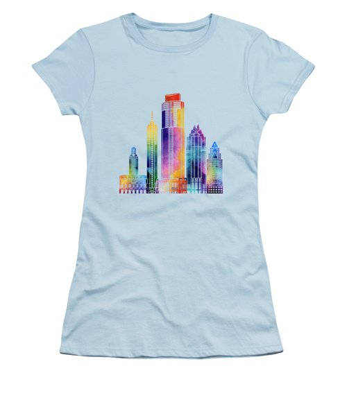 Austin Landmarks Watercolor Poster Women's T-Shirt (Junior Cut) by Pablo Romero