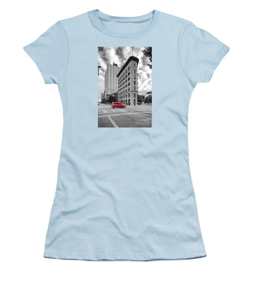 Black And White Photograph Of The Flatiron Building In Downtown Fort Worth - Texas Women's T-Shirt (Junior Cut) by Silvio Ligutti