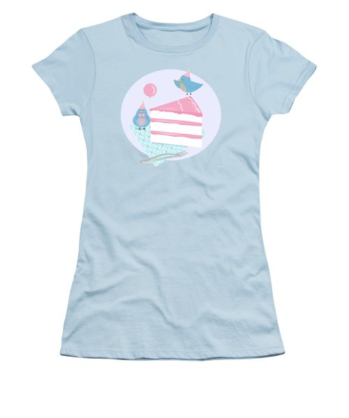 Bluebirds Love Birthday Cake Women's T-Shirt (Junior Cut) by Little Bunny Sunshine