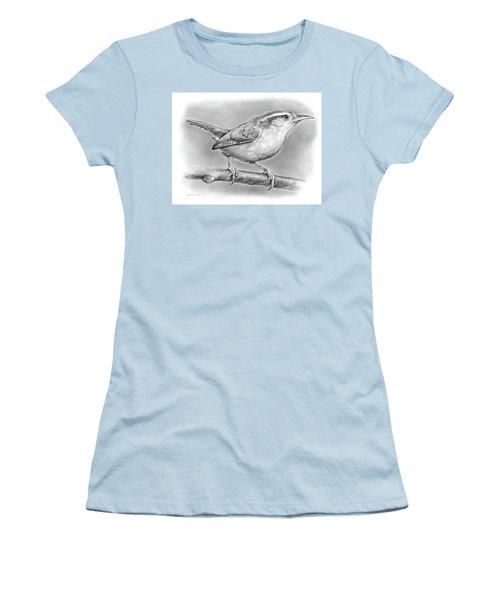 Carolina Wren Women's T-Shirt (Junior Cut) by Greg Joens