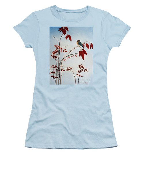 Cedar Waxwing Women's T-Shirt (Junior Cut) by Laura Tasheiko