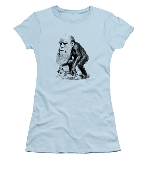Charles Darwin As An Ape Cartoon Women's T-Shirt (Junior Cut) by War Is Hell Store