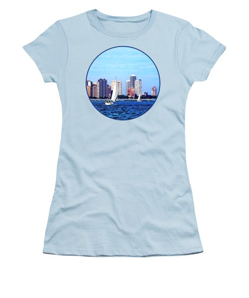 Chicago Il - Two Sailboats Against Chicago Skyline Women's T-Shirt (Junior Cut) by Susan Savad