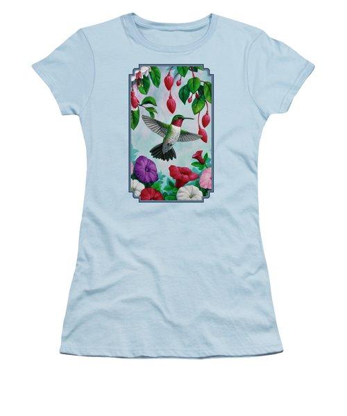 Hummingbird Greeting Card 2 Women's T-Shirt (Junior Cut) by Crista Forest