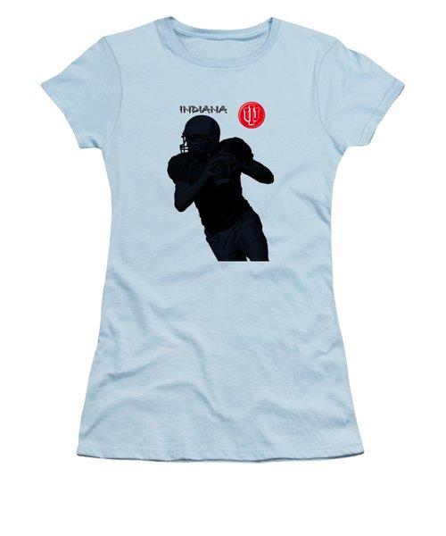 Indiana Football Women's T-Shirt (Junior Cut) by David Dehner
