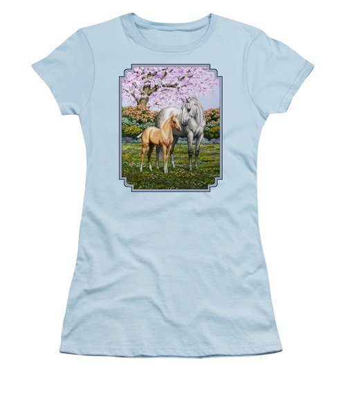 Mare And Foal Pillow Blue Women's T-Shirt (Junior Cut) by Crista Forest